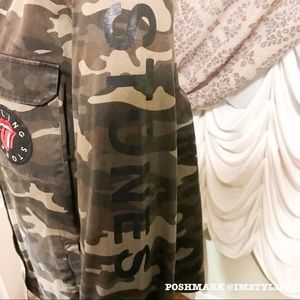 Forever 21 Jackets & Coats - 🆕 The Rolling Stones x Forever 21 Camo  Jacket